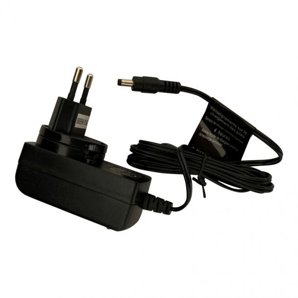 Batteri oplader DIN type Pool Blaster. output 8,4 volt plug 4mm Li
