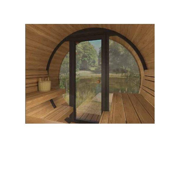 Sauna tønde Deluxe 2,8 m Panorama glas front Varmebehandlet træ Elovn