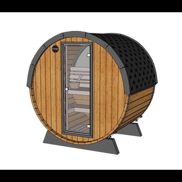Sauna Tønde 160 cm - halvt panomara glas - Elovn
