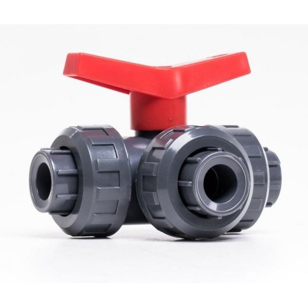 3 vejs drejeventil pvc, ø 50 mm - t-kugle ventil