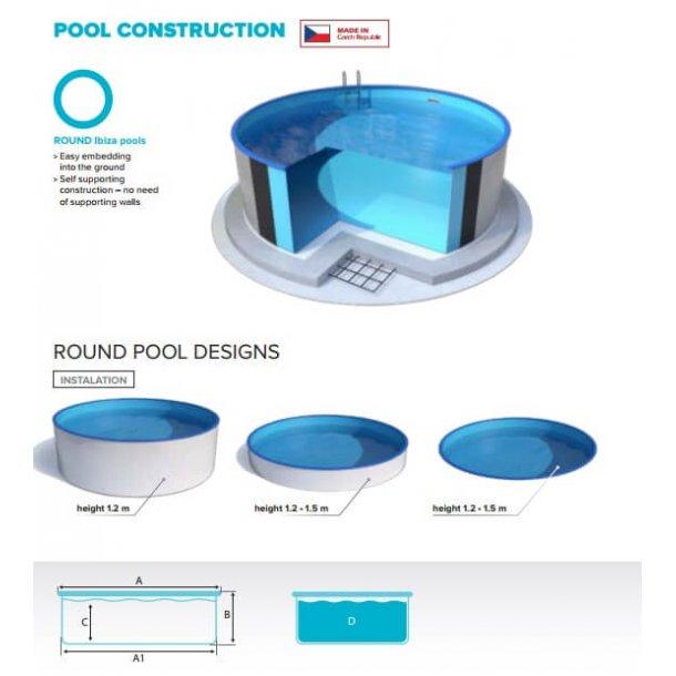 Rund Pool Pakke Ibiza h 1,2 M - 3 Størrelser
