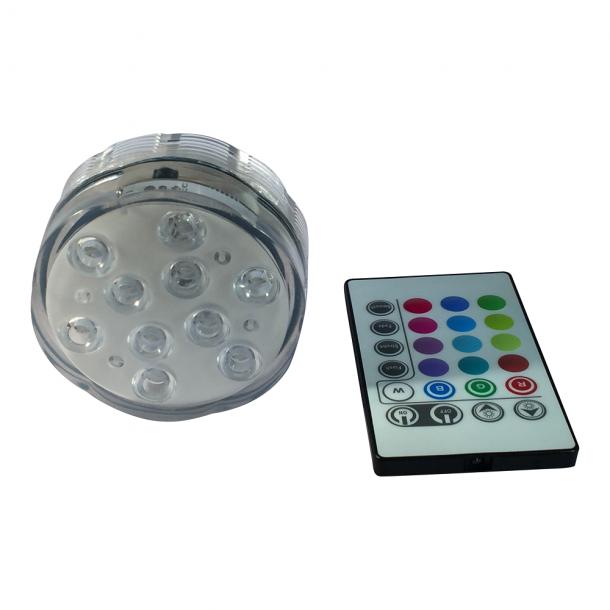 LED lampe RGB farveskift til under vand inkl. Fjernbetjening