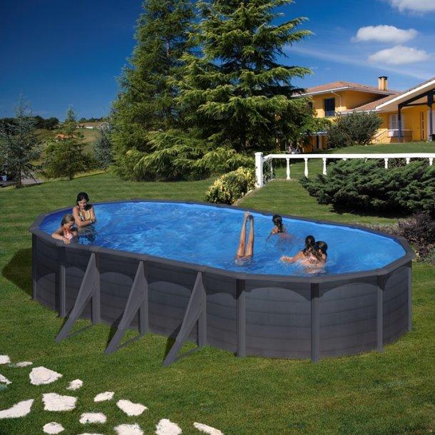 Oval Stålvægs pool Grafit uden pumpe H 1,2 m -3 størrelser