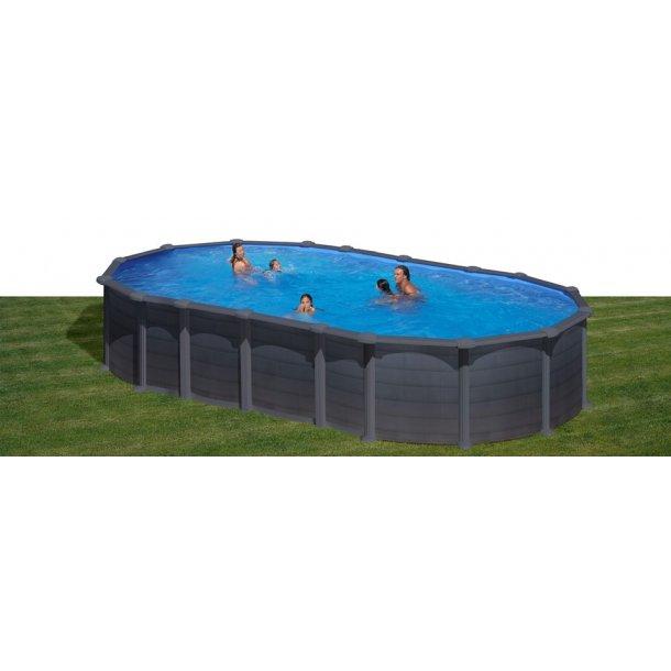 Stålvægs Pool Oval Grafit Uden sideben H 1,32 m 3 størrelser