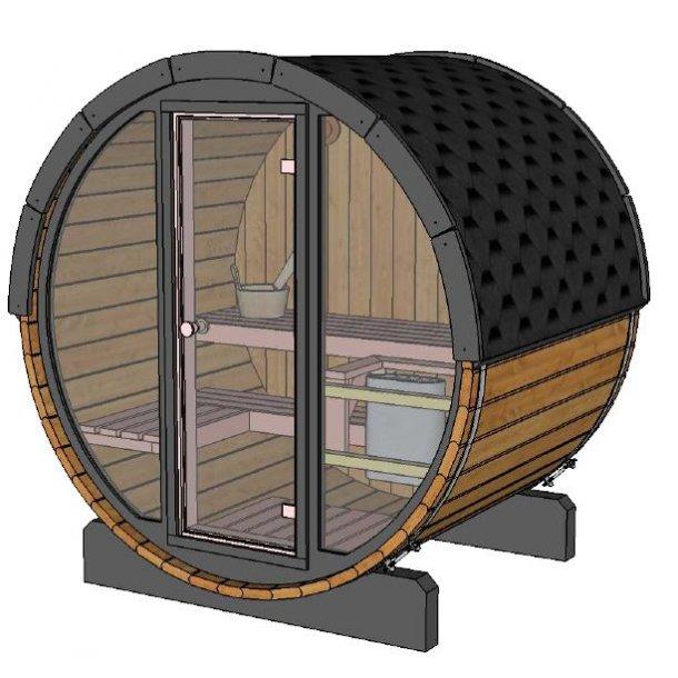 Pool Sauna 160 cm Elovn Glasfront Thermowood