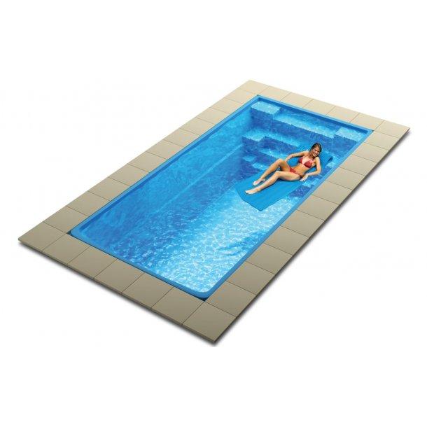 Glasfiber pool 7,5 x 3,15 x 1,5 m med pooltag og tilbehør