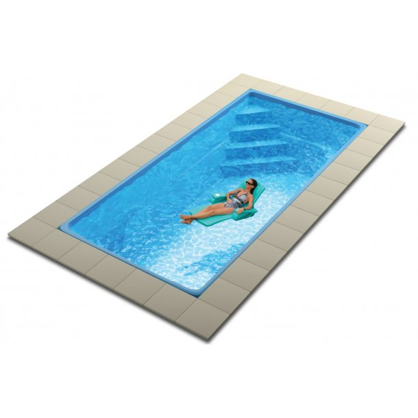 Glasfiber Pool 8,0 x 3,75 x 1,5 m med Pooltag - Colorado