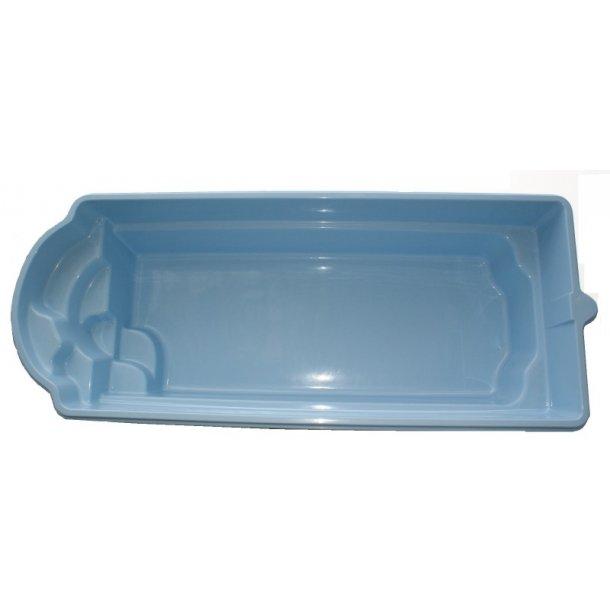 Glasfiber pool 7,70 x 3,20 x 1,5 m med pooltag og tilbehør
