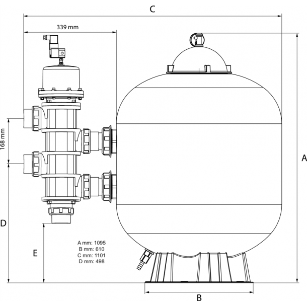 Sandfilter Pentair Triton II sidemonteret Flere størrelser
