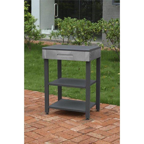 Bord til grill med hylder black/silver
