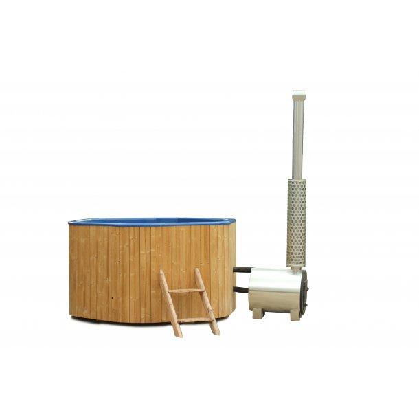 Hottub 200 cm Thermowood Glasfiber 6-kantet Udvendig ovn