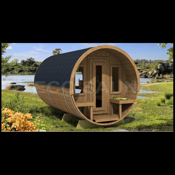 Sauna tønde Deluxe 4 m Panorama glas Varmebehandlet træ Elovn