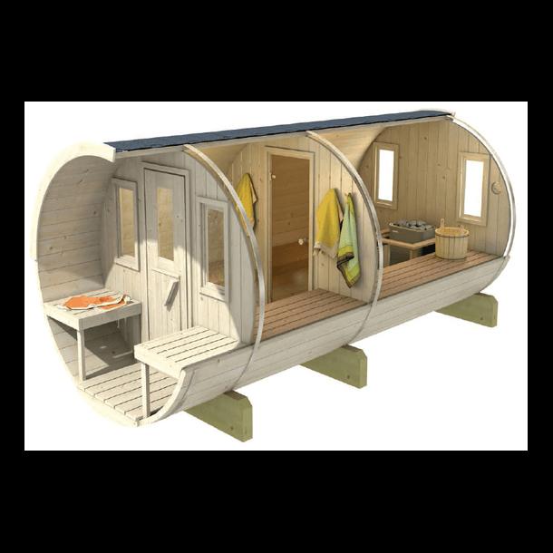 Sauna tønde 330 cm i varmebehandlet træ med terrasse og elovn