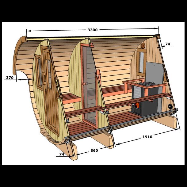 Sauna tønde 330 cm i grantræ med elovn