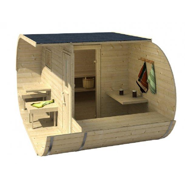 Oval sauna elovn 405x240xH197 cm