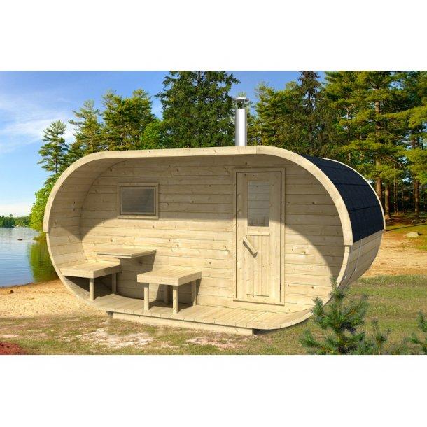 Oval sauna brændeovn 405x240xH197 cm