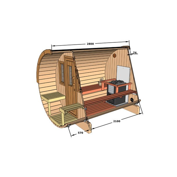 Sauna tønde 280 cm med brændeovn - 4-6 personer