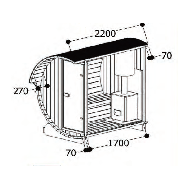 Sauna tønde 220 cm med elovn - 3-4 personer