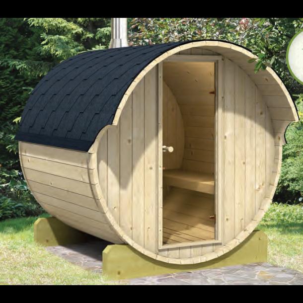 Sauna tønde 250 cm med brændeovn - 4-6 personer