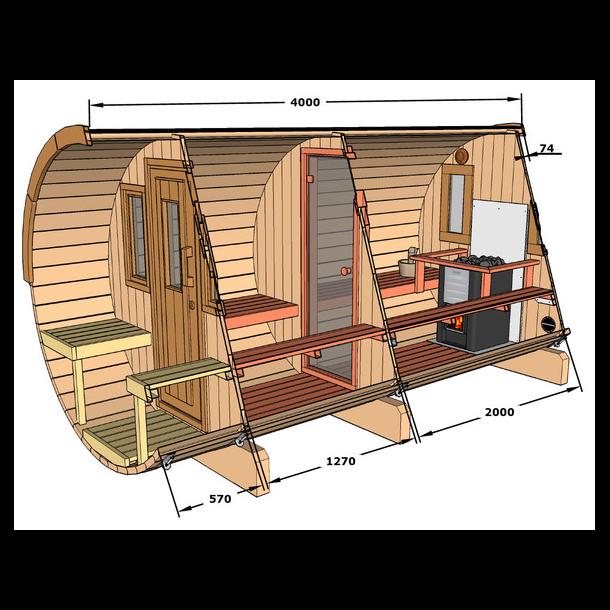 Sauna tønde 4 m i grantræ med elovn