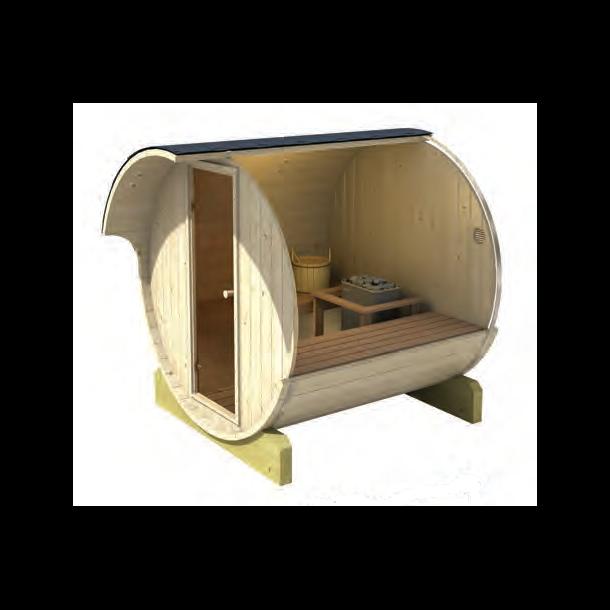 Sauna tønde 250 cm med elovn - 4-6 personer