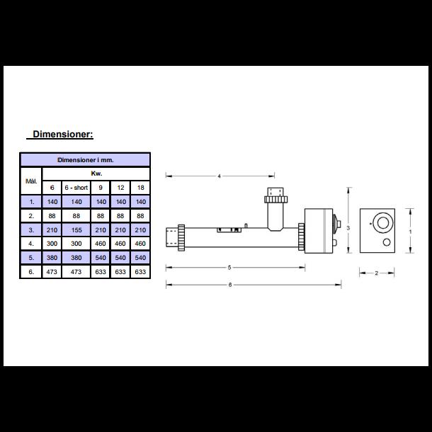 Elvarmer til pool og spa Justerbar Termostat - 3 størrelser