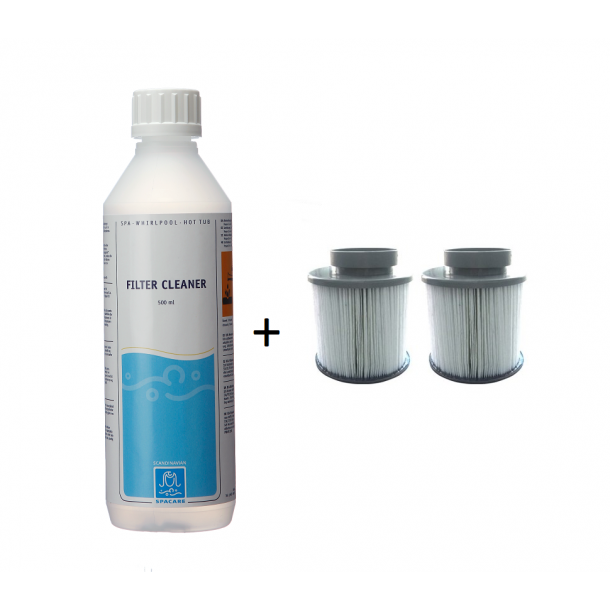 Filter Patron til M-spa 2-pak + Filter Cleaner 500 ml