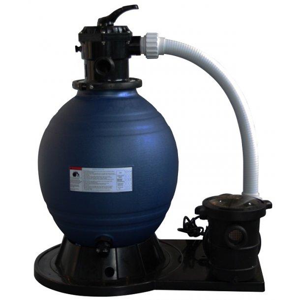 Sandfilterpumpe 6-vejs ventil 10 m3/time 0,75 hk pumpe