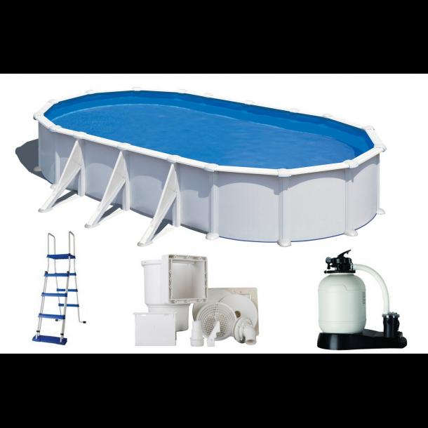 Stålvægs pool Oval Højde 1,32 m - 6 størrelser