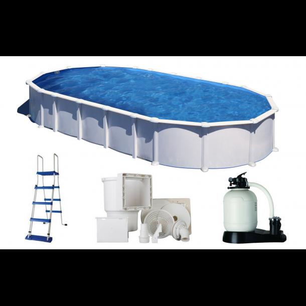 Stålvægs pool Oval Højde 1,32 m Uden ben - 5 størrelser
