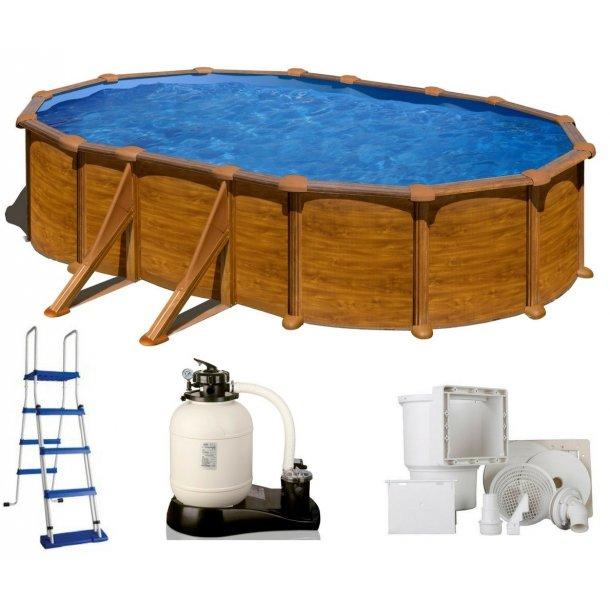 Oval Stålvægs Pool Trælook Sideben Højde 1,32 m - 3 størrelser