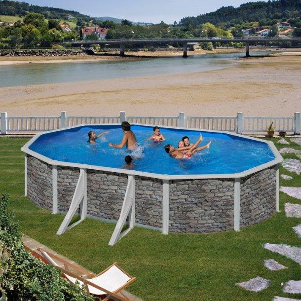 Stålvægs Pool Oval Stenlook Sideben H 1,2 m Flere størrelser