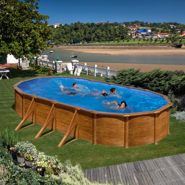 Oval Stålvægs Pool Trælook H 1,2 m - 3 størrelser