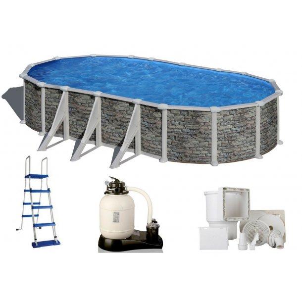 Stålvægs pool Oval Steenlook Sideben H 1,32 m Flere størrelser