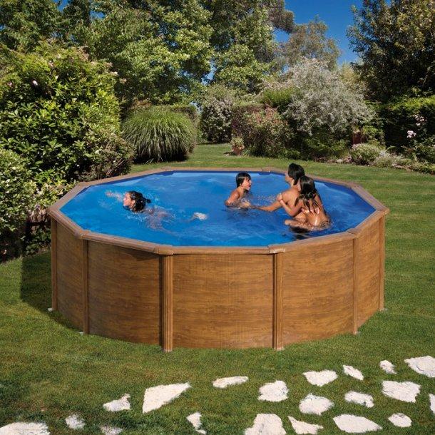 Stålvægs pool Rund Trælook Højde 1,2 m - 3 størrelser