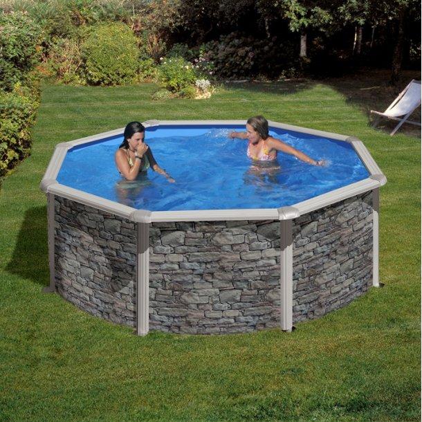 Stålvægs pool Rund Steenlook Højde 1,2 m Flere størrelser
