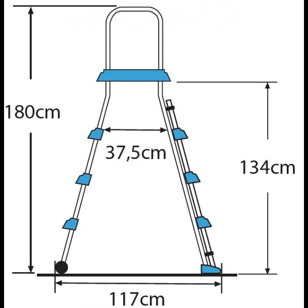 Pool stige - sikkerhed, 2x3 trin + platform h. 1320mm