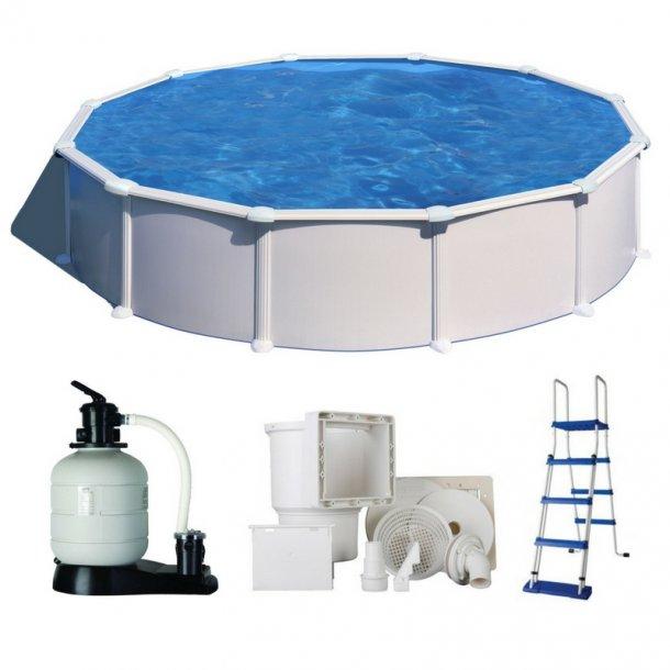 Stålvægs pool - rund h 1,32 cm - 3 størrelser