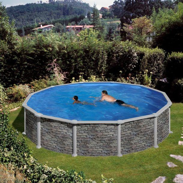 Rund Stålvægs Pool Stenlook H 1,32 m Flere størrelser