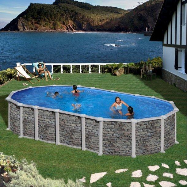 Stålvægs pool Oval Steenlook Uden sideben H 1,32 m 2 størrelser