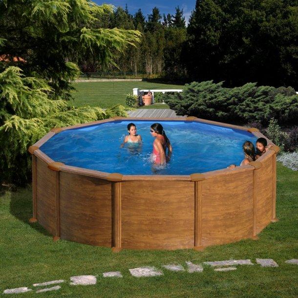 Pool Rund Trælook Stålvæg Uden pumpe h 1,2 m - 3 størrelser