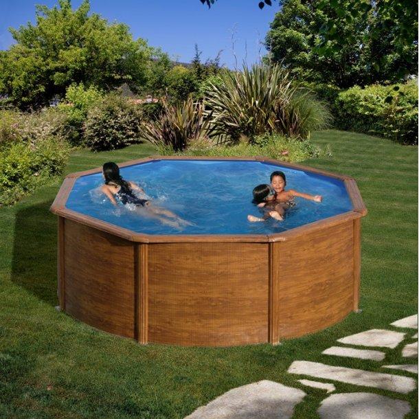 Stålvægs Pool Rund Trælook - h 1,32 m - 3 størrelser