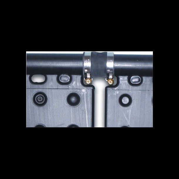 Slangekobling med 2 rustfrie spændebånd Ø 38 mm L 60 mm