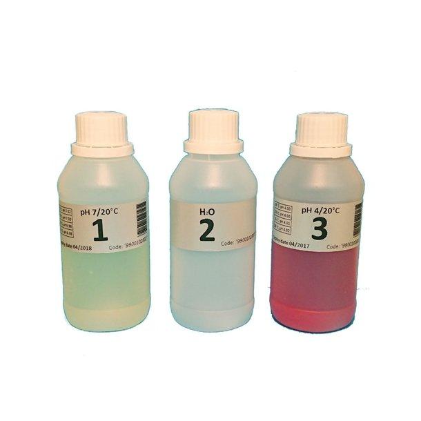 Kalibreringsvæske til pH expert kit 3 flasker pH4, pH7 og H20