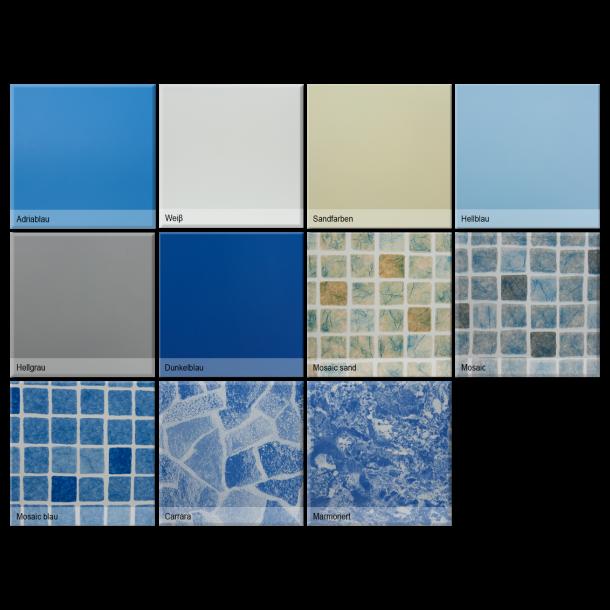 Rektangulær linerdug 1,0 mm til pool H 1,5 m Fås 3 Størrelser