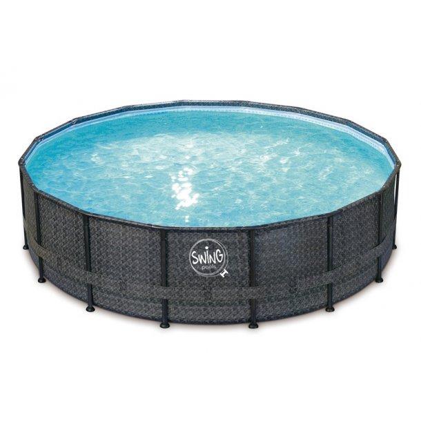 Stålramme Pool Rund Rattan look Ø 4,88 m H 1,22 m