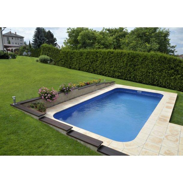 PP pool rektangulær Skimmer 3,45x8x1,5 + teknologi box + Trappe