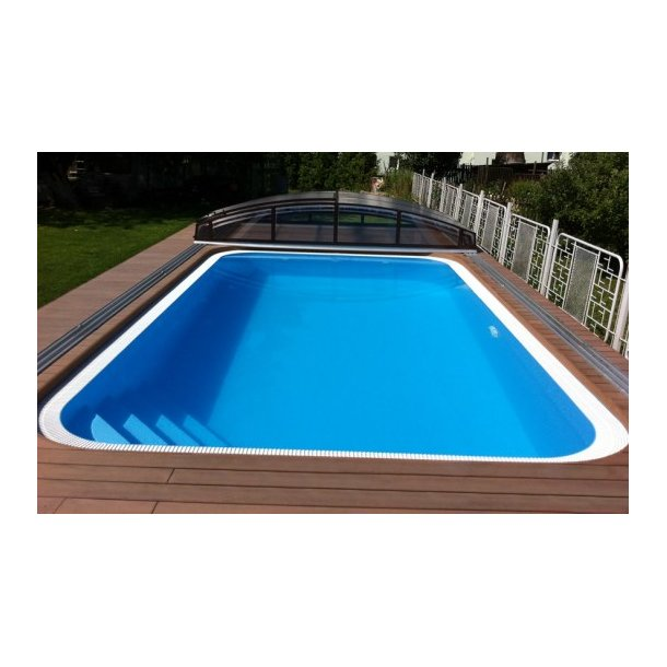 PP pool rektangulær Overflow 3x6x1,5 + teknologi box + Trappe