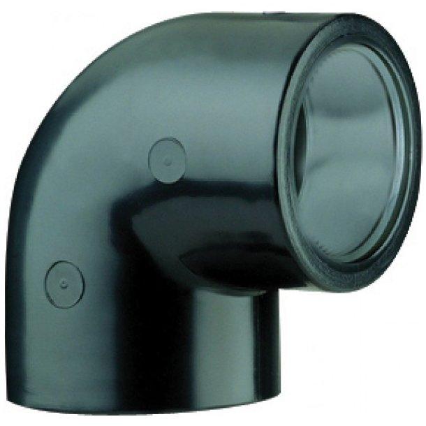 PVC 90 grader vinkel lim/lim - 32-50 mm