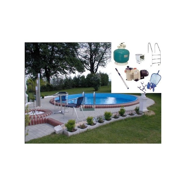 Rund Pool Pakke Ø 3,5 m H 1,5m Komplet med udstyr